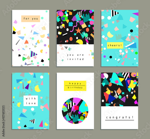 Collection of party cards and invitations Birthday backgrounds