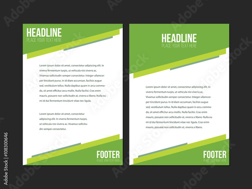 Green and white Leaflet Brochure Flyer template A4 size design, book