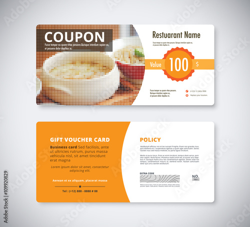 Gift coupon voucher template for restaurant flyer brochure vect - coupon voucher template