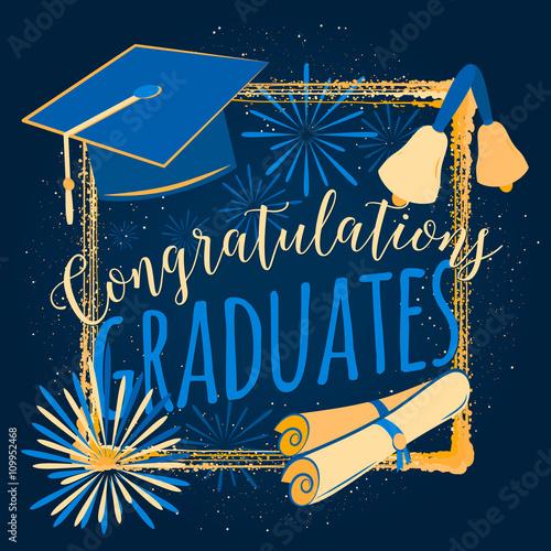 Vector illustration on dark background congratulations graduates