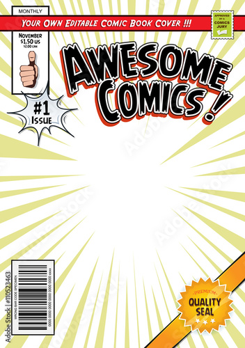 Comic Book Cover Template - Buy this stock vector and explore