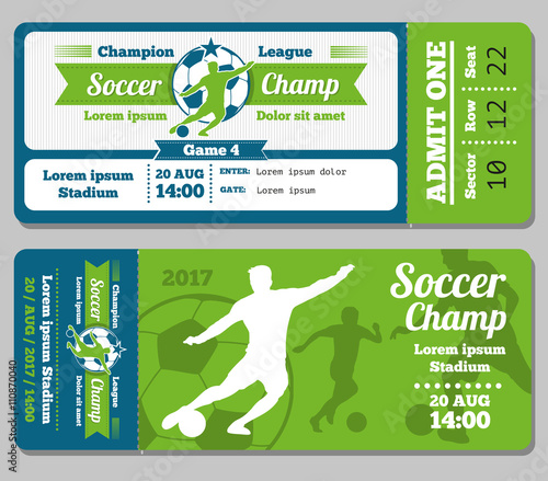 Football, soccer vector ticket template Footbal ticket and soccer - Ball Ticket Template