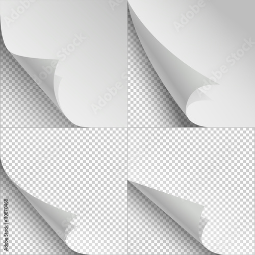 Blank sheets of paper with page curl and shadows Sheet paper with
