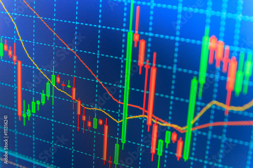 Stock market quotes on display Stock exchange graph Macro close-up