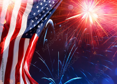 American Celebration - Usa Flag With Fireworks - Buy this stock