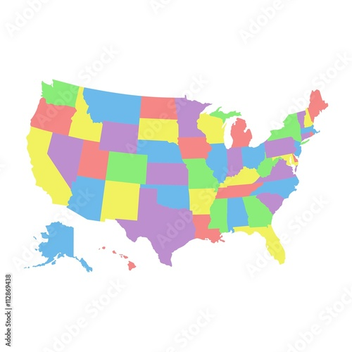 High detail USA map with different colors for each country United