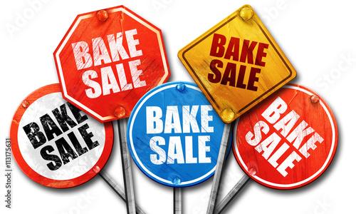 bake sale, 3D rendering, street signs - Buy this stock illustration
