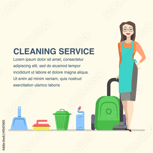 Cleaning service banner for advertisement with cartoon woman