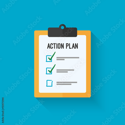 Action plan clipboard icon design over a blue background Board goal