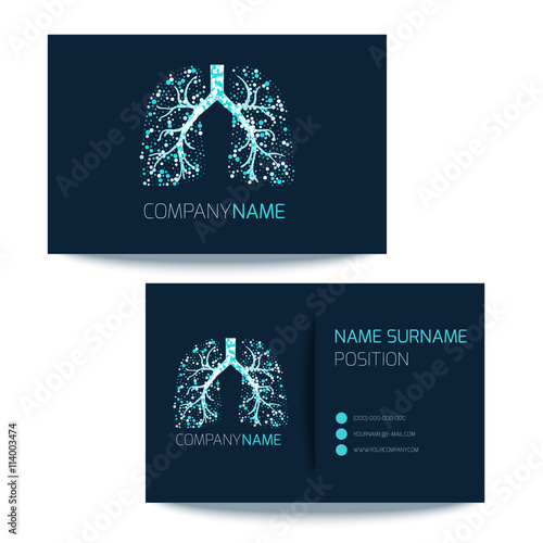 Medical business card template with lungs filled with air bubbles on - medical business card templates