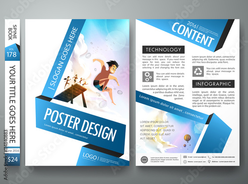 Brochure design template vectorBusiness flyers cover report summer