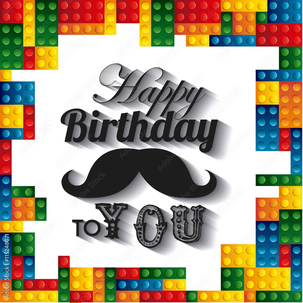 Fototapeten Lego Lego Frame Icon Happy Birthday Design Vector Graphic Foto