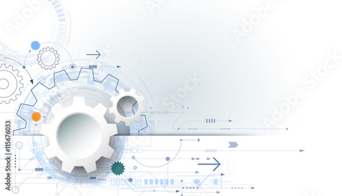 Vector futuristic technology background, 3d white paper gear wheel - white paper template