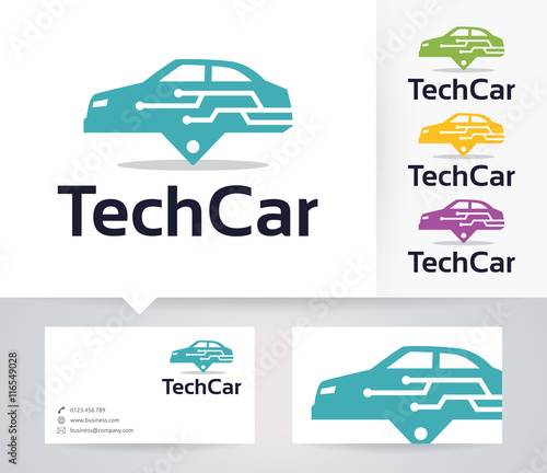 Tech Car vector logo with alternative colors and business card