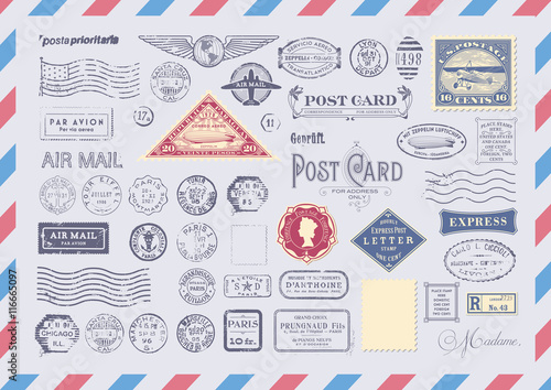 collection of mail themed design elements -grungy textured postage