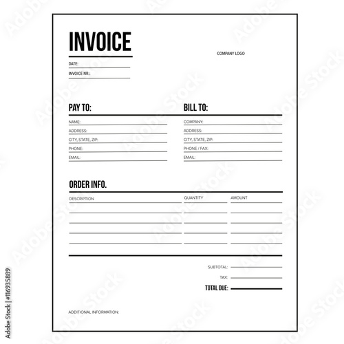 Invoice / business template - Letter USA standard paper - Buy this