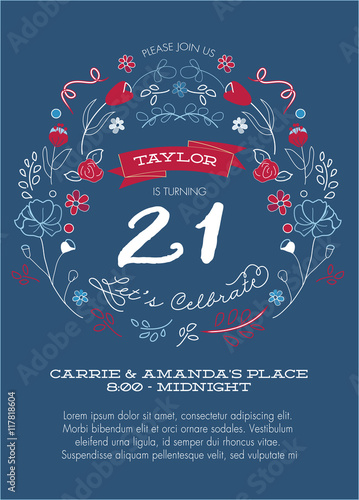 21st Birthday Party Invitation Template - Vector - Red, White and