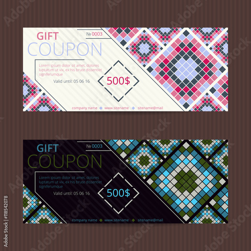 Gift voucher with geometric elegant design Vector template for