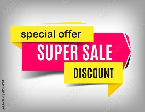 Sale pink banner Super sale poster design Discount poster, special - sale poster design