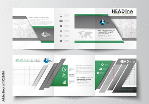 Set of business templates for tri-fold brochures Square design