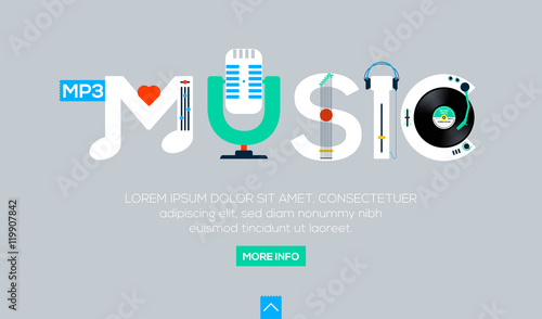 Creative word for online music and other, lettering on gray