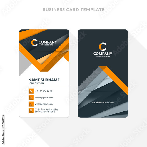 Vertical Double-sided Business Card Template with Abstract