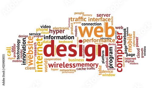 Web design word cloud on white background Technology and internet
