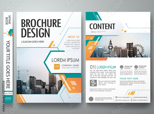 Green abstract shape poster portfolio layout designCity design on
