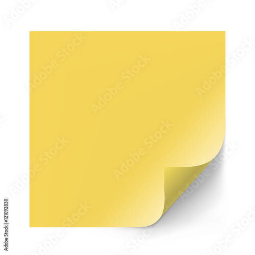 Vector yellow sticker paper note for memo and notice Sticky page