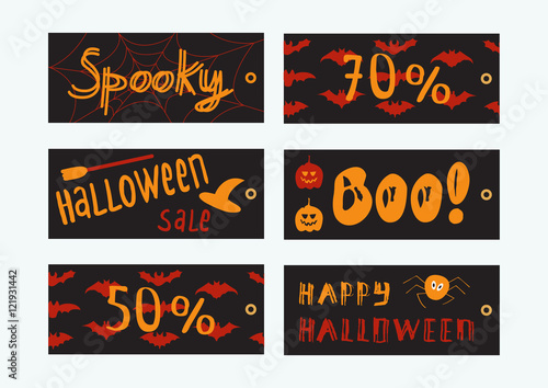 Set of 6 Halloween gift cards Cute and scary cards templates