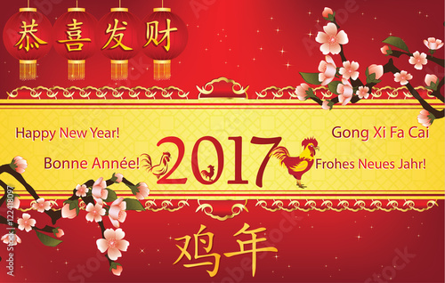 Chinese New Year 2017, printable greeting card Text translation