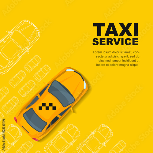 Taxi service concept Vector yellow banner, poster or flyer