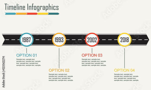 Timeline Infographics template with arrow from asphalt road - sample advertising timeline