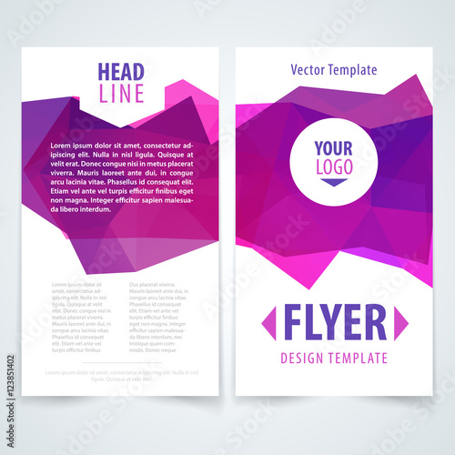 Pink Brochure design template vectorFlyers report business triangle