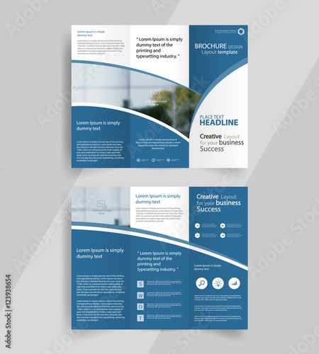 business tri-fold brochure layout design ,vector a4 brochure