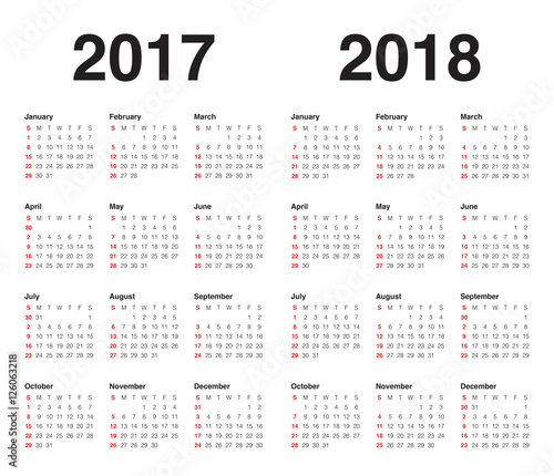 Simple Calendar template for 2017 and 2018 - Buy this stock vector