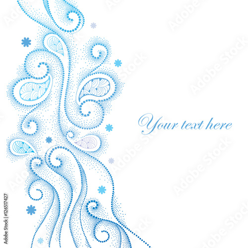 Vector abstract background with dotted curly lines, blue swirls and