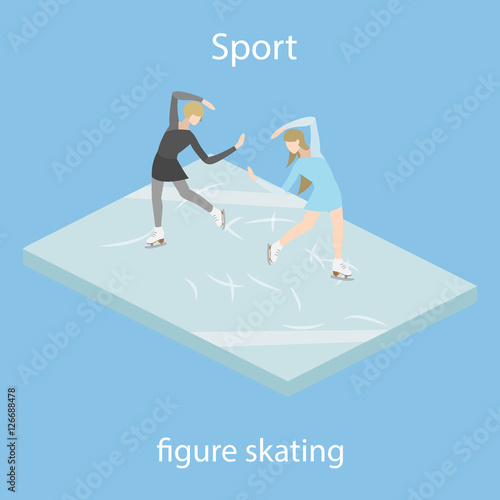 Figure skaters in ice vector illustration isometric - Buy this stock