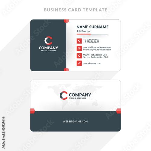 Creative and Clean Double-sided Business Card Template Red and