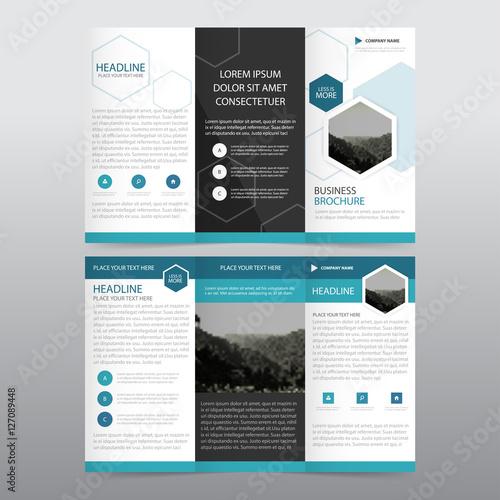 Blue Black triangle business trifold Leaflet Brochure Flyer report