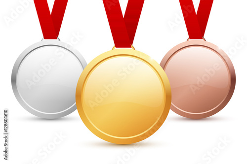 Shiny vector blank gold, silver and bronze medal templates with