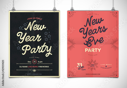 Simple New Year\u0027s Event Poster Layout Buy this stock template and