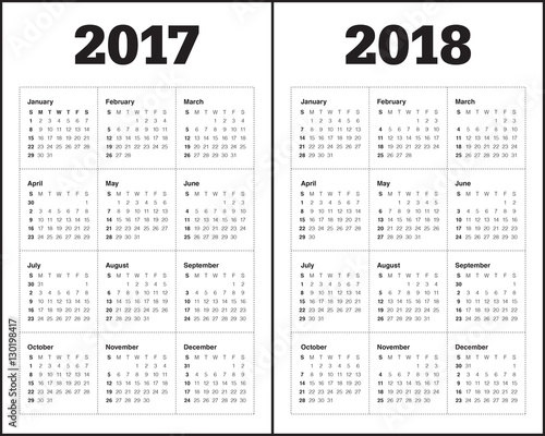 Simple Calendar template for 2017 and 2018 - Buy this stock vector - calendar template