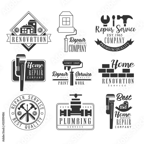 Plumbing And Repairing Service Black And White Sign Design Templates