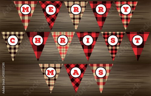 Lumberjack MERRY CHRISTMAS Banner in Red, Black and Beige Buffalo