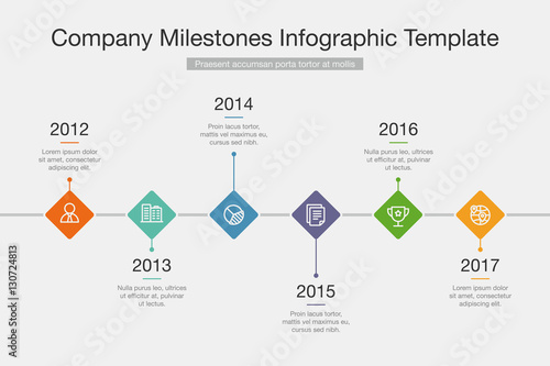 Vector Infographic Company Milestones Timeline Template - Buy this