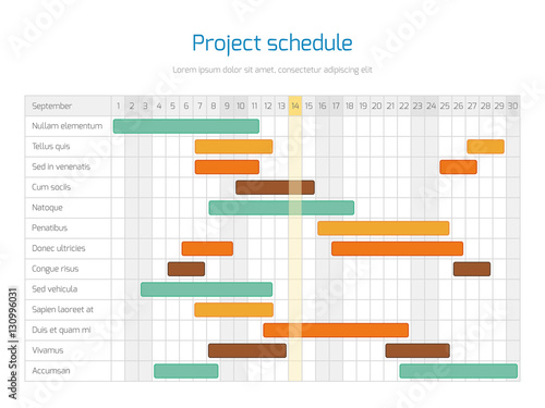 Project schedule chart, overview planning timeline vector diagram