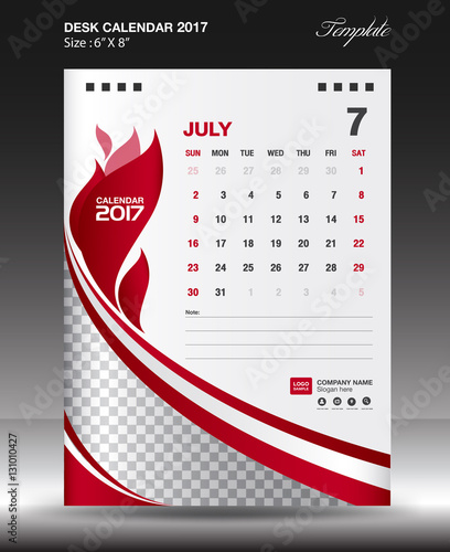 JULY Desk calendar 2017 year Size 6x8 inch vertical, Business