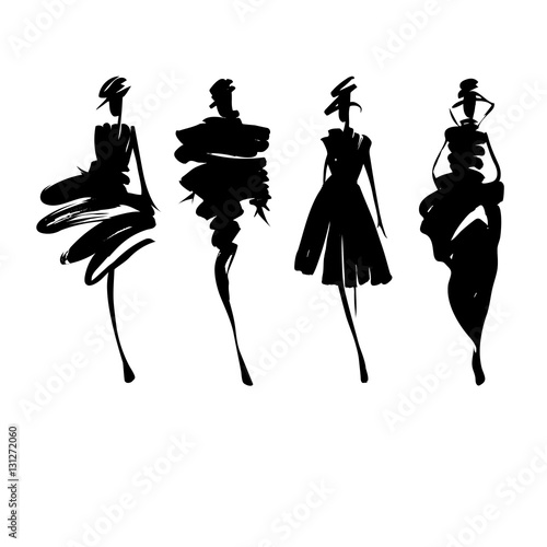 Fashion models sketch hand drawn , stylized silhouettes isolated