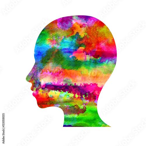 Modern Watercolor head logo of Psychology Profile Human Creative